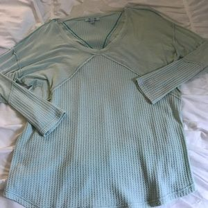 Long Sleeve Waffle Shirt-Teal Colored